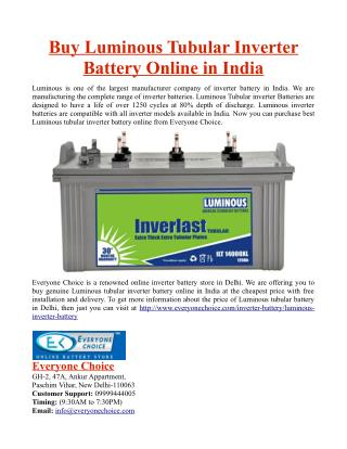 Buy Luminous Tubular Inverter Battery Online in India