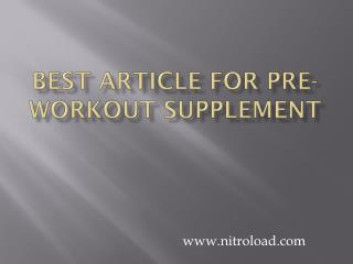 Best Articles for Pre-workout supplement for Beginners