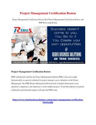Project Management Certification Boston
