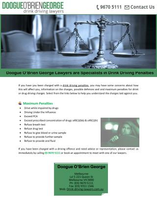 Doogue O'Brien George Lawyers are Specialists in Drink Driving Penalties