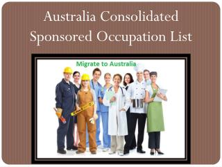 Australia Consolidated Sponsored Occupation List (