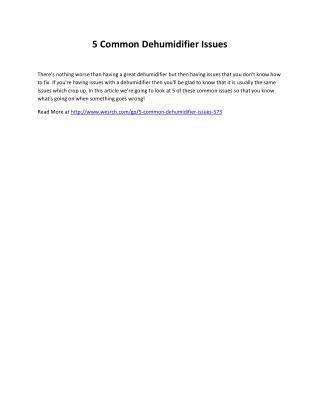 5 Common Dehumidifier Issues