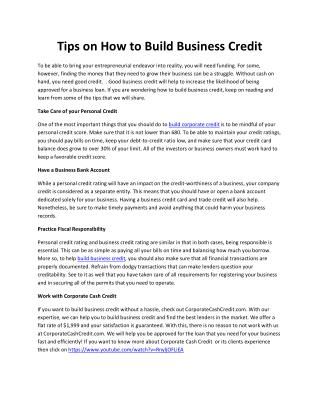 Tips on How to Build Business Credit