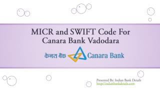 SWIFT Code For Canara Bank Vadodara Branch