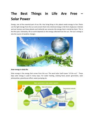 The Best Things in Life Are Free – Solar Power