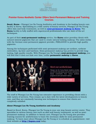 Premier Korea Aesthetic Center Offers Semi-Permanent Makeup and Training Courses
