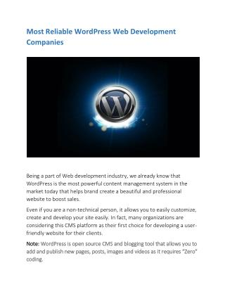 15 Most Reliable WordPress Web Development Companies