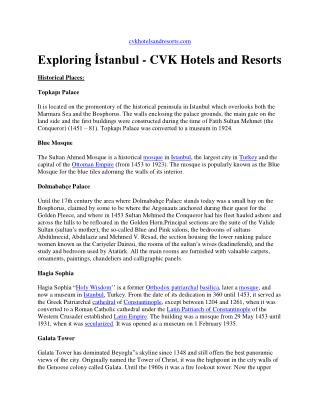Exploring istanbul - cvk hotels and resorts