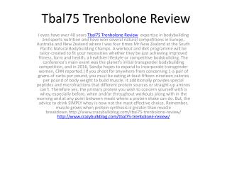 Tbal75 Trenbolone Review