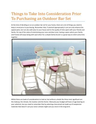 Things to Take Into Consideration Prior To Purchasing an Outdoor Bar Set
