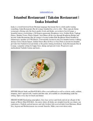 Istanbul restaurant - Restaurants in istanbul