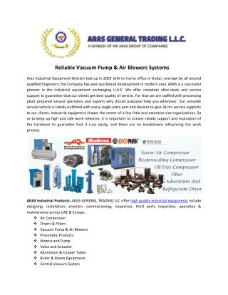 Reliable Vacuum Pump & Air Blowers Systems