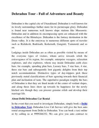 Delhi to Dehradun Taxi | Delhi to Dehradun Cab