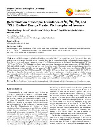 Determination of Isotopic Abundance of 2H, 13C, 18O, and 37 Cl in Biofield Energy Treated Dichlorophenol Isomers
