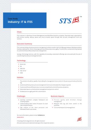 Case Study - Workflow and Process management tool for IT&ITeS