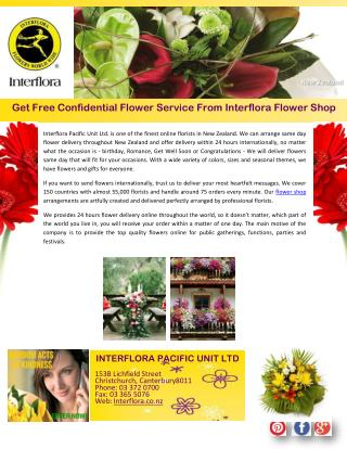 Get Free Confidential Flower Service From Interflora Flower Shop