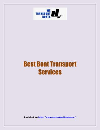 Best Boat Transport Services