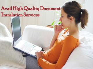 Avail High Quality Document Translation Services