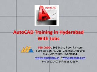 AutoCAD Training in Hyderabad with Jobs BSB CADD