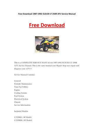 1987-1992 SUZUKI LT 250R ATV Service Manual