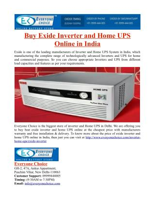 Buy Exide Inverter and Home UPS Online in India