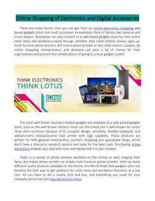 Online Shopping of Electronics and Digital Accessories