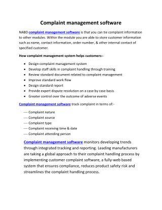 Complaint management software