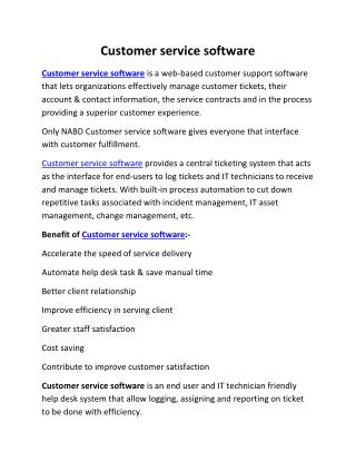 Customer service software