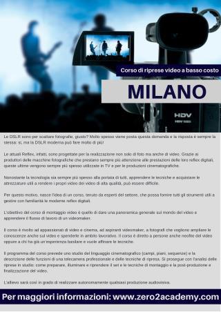 Corso di riprese video a basso costo Milano