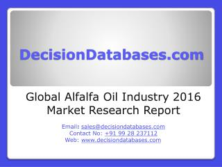 Alfalfa Oil Market Research Report: Global Analysis 2016-2021