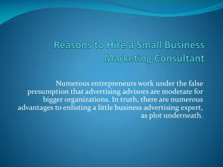 Reasons to Hire a Small Business Marketing Consultant