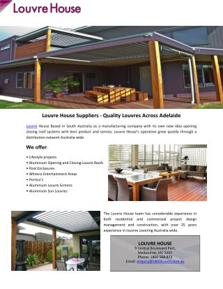 Louvre House Suppliers - Quality Louvres Across Adelaide