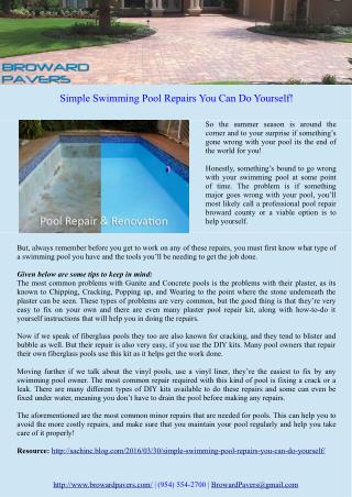 Simple Swimming Pool Repairs You Can Do Yourself