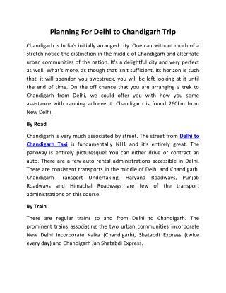Delhi to Chandigarh Taxi | New Delhi to Chandigarh Taxi