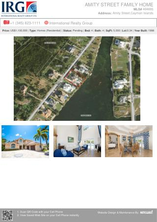 Amity Street Family Home Residential Real Estate Property for Sale At Grand Cayman