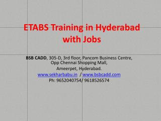 ETABS Coaching Institute in Hyderabad with Jobs