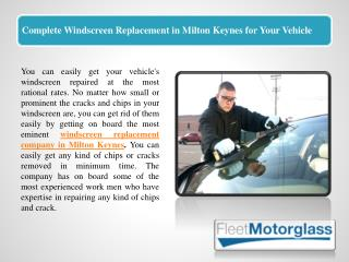 Complete Windscreen Replacement in Milton Keynes for Your Vehicle