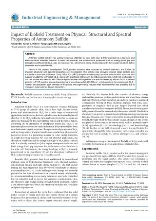 Impact of Biofield Treatment on Physical, Structural and Spectral Properties of Antimony Sulfide