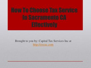 How to Choose Tax Service in Sacramento CA Effectively