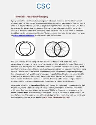 Carbon wheels - Cycling in the most absorbing way