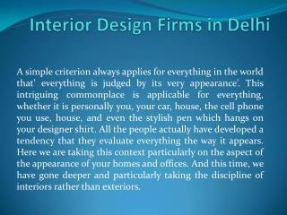 Interior Design Firms in Delhi