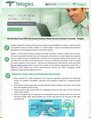 Carrier-Class Cloud PBX And Hosted Business Phone Service Provider In Canada – Telogiks