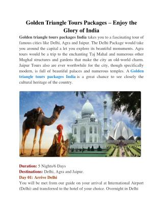 Golden Triangle Tours Packages � Enjoy the Glory of India