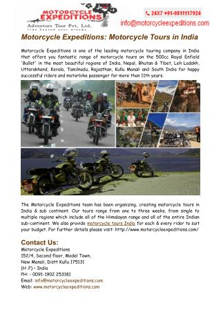 Motorcycle Tours India Nepal - Motorcycle Expeditions