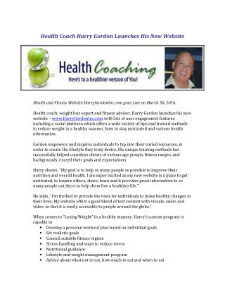 Health Coach Harry Gordon Launches His New Website