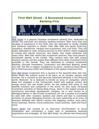 First Wall Street