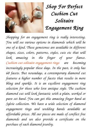 Shop For Perfect Cushion Cut Solitaire Engagement Ring