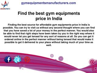 Find the best gym equipments price in India