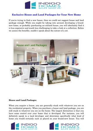 Exclusive House and Land Packages for Your New Home