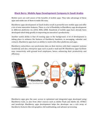 Black Berry Mobile Apps Development Company In Saudi Arabia